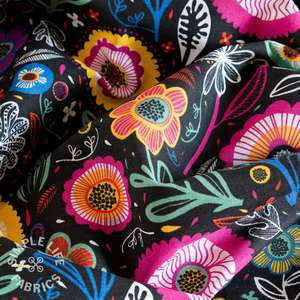 Floral upholstery fabric big colourful flowers on black