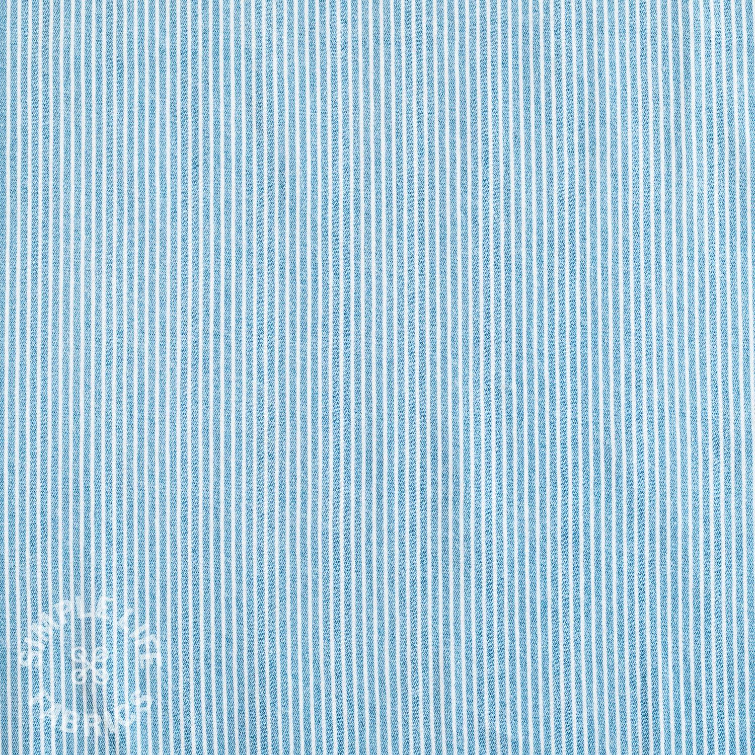 striped blue and white denim fabric