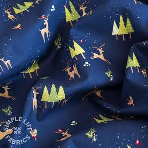 Christmas reindeer fabric navy blue uk