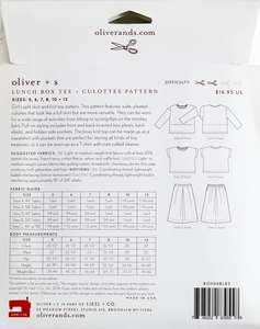 Oliver+S lunch box t-shirt and culottes children's clothes sewing pattern