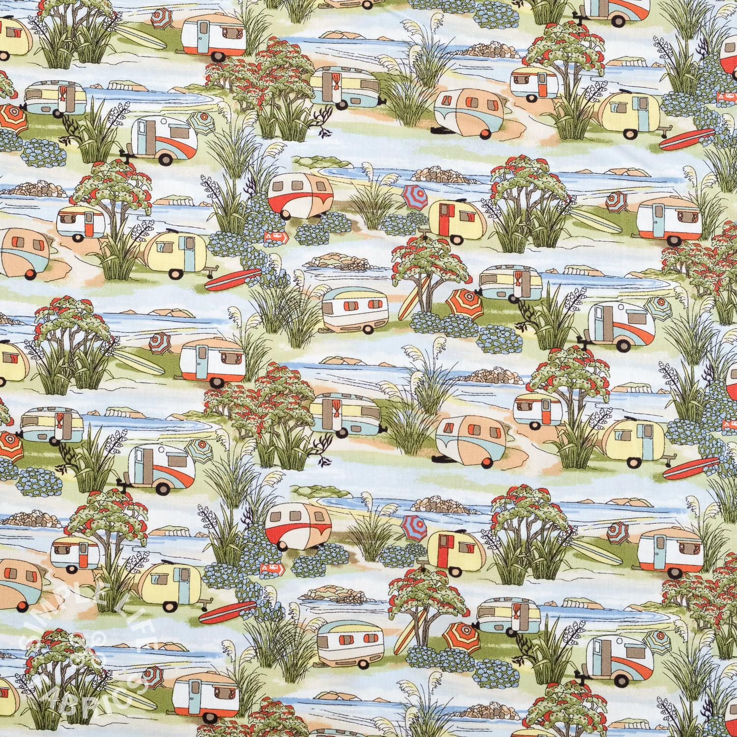 Cotton fabric with vintage caravans