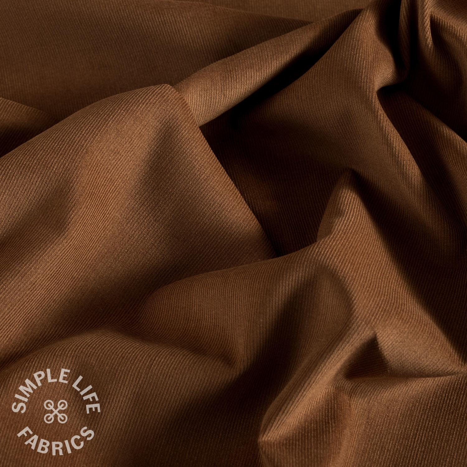 Brown ochre babycord corduroy fabric