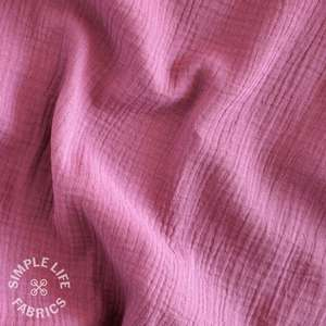 Mauve purple organic cotton double gauze fabric
