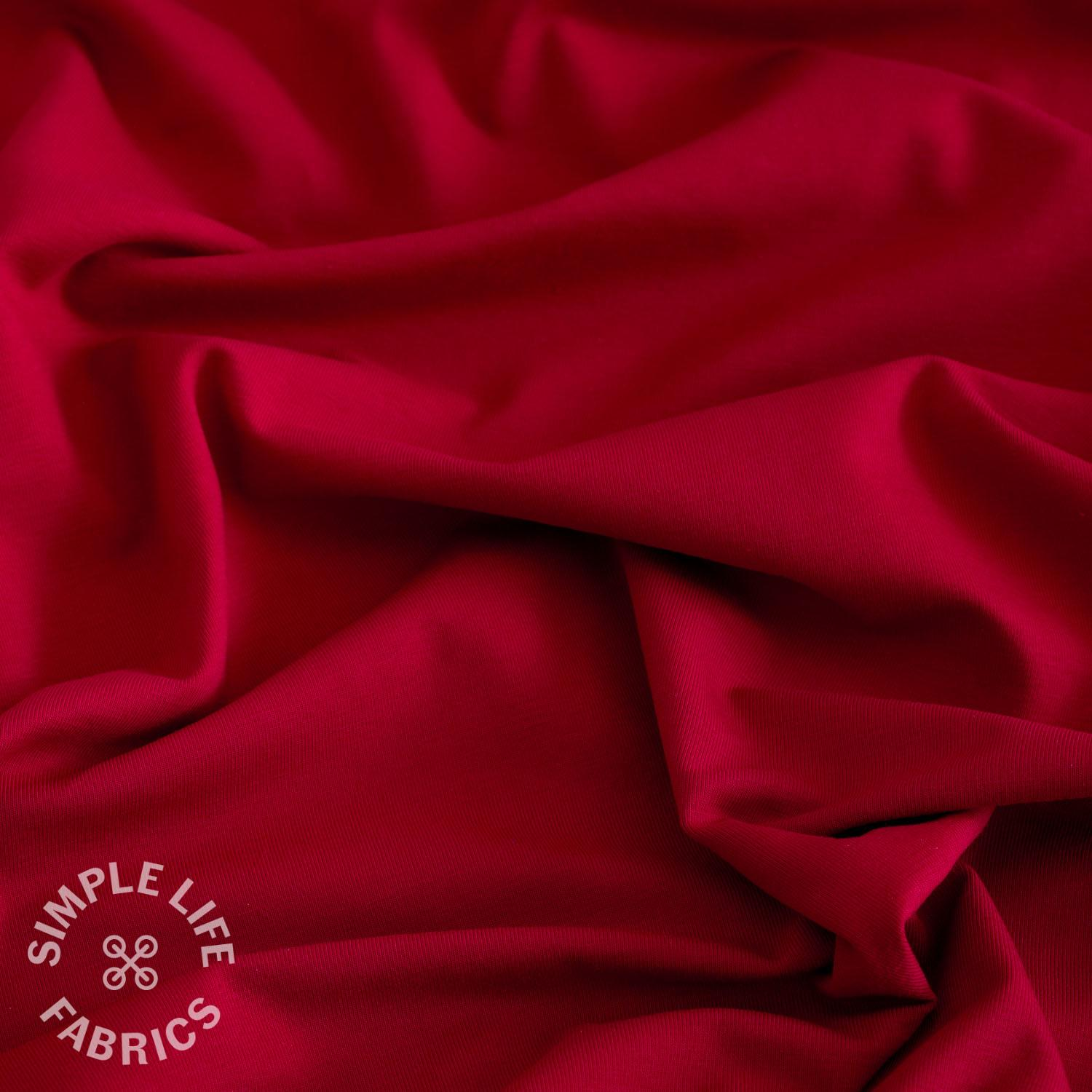 organic red cotton jersey fabric