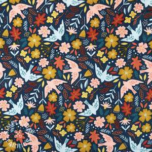 Corduroy fabric with birds print