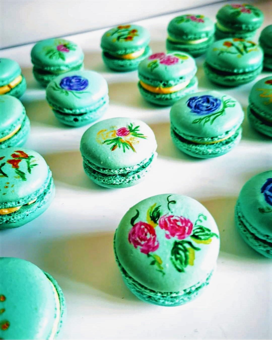 floral assorment hand painted macarons london