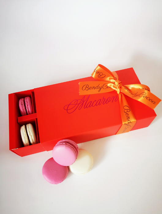 red gift box for 12 macarons london uk bendycocoa