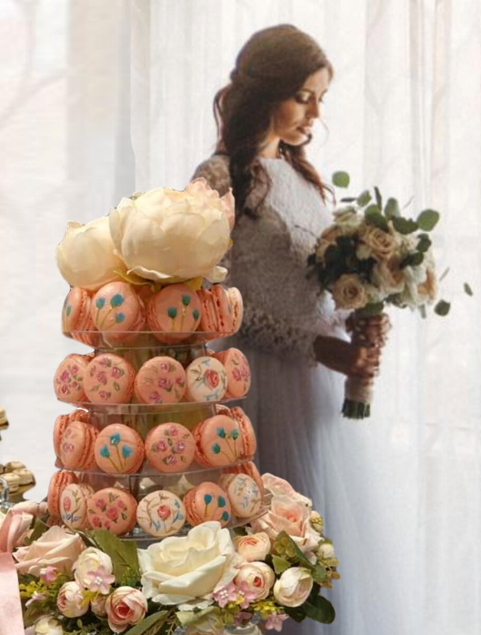 hand painted french macaron tower