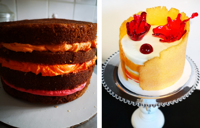 Tequila & Grenadine sponge cake before and after