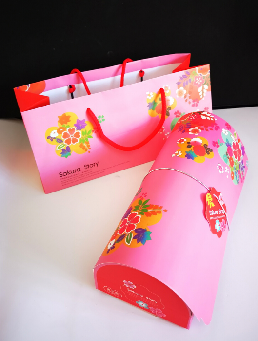 pink Japanese cake roll gift box and bag