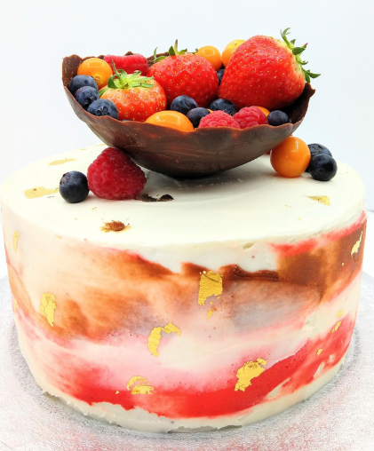 lavsish  fruit filled cake modern abstract weddings strawberries summer fruits chocolate luxury london