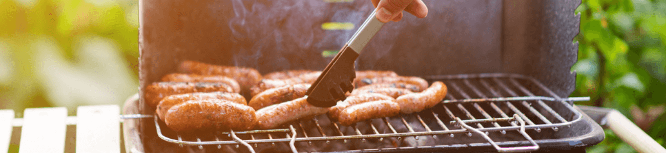Grilling sausages on the BBQ