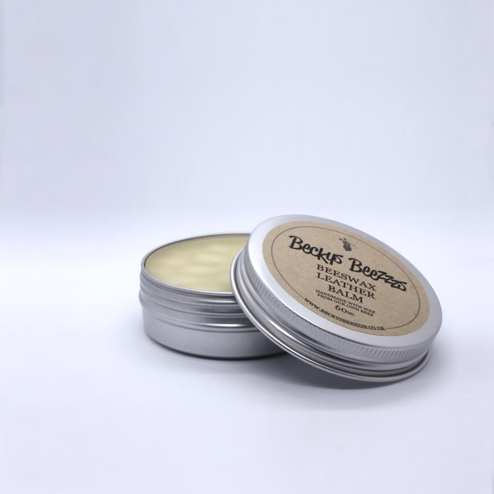 Beeswax Leather Balm Open Tin