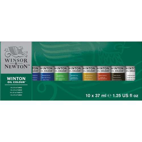 a box of 10 tubes of Winsor and Newton Winton Oil colours