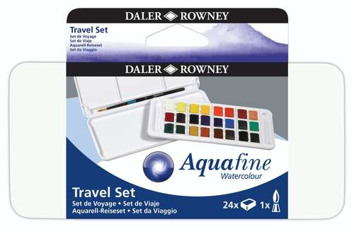 a Daler Rowney Aquafine travel set with 24 colours