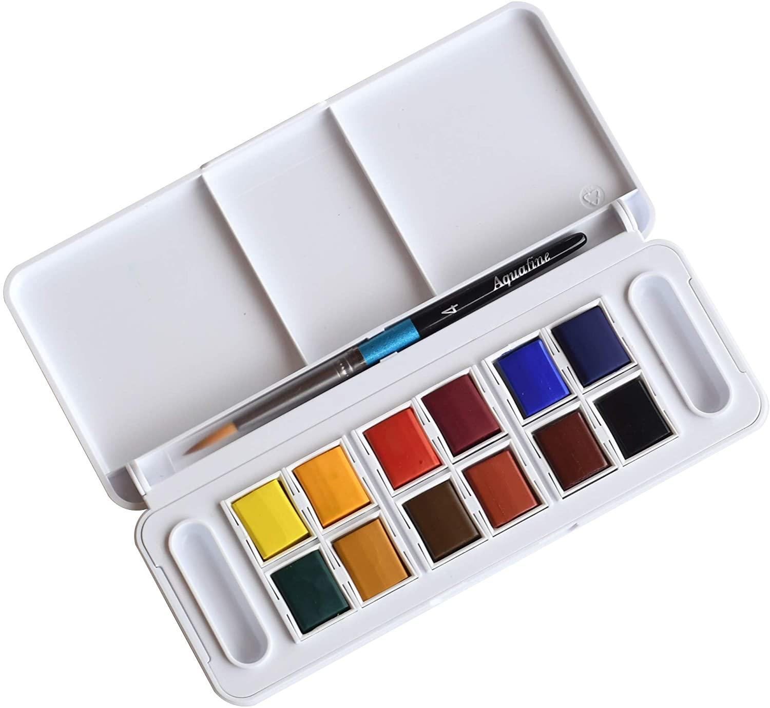 interior of the Daler Rowney Aquafine watercolour box