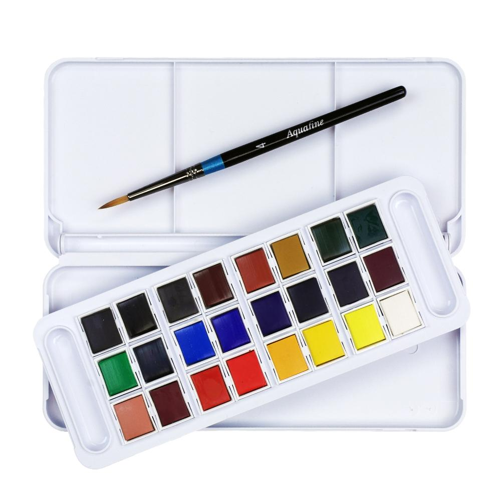 the interior of the Daler Rowney Aquafine travel set with 24 colours