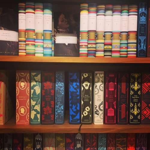 bookshelves of classic clothbound fiction