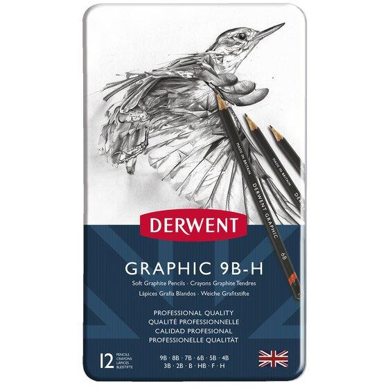 Tin of 12 Derwent sketching pencils