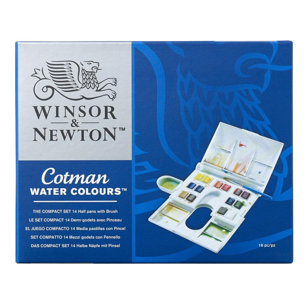 the packaging for Winsor and Newton Cotman Watercolours Compact Box with 14 half pans