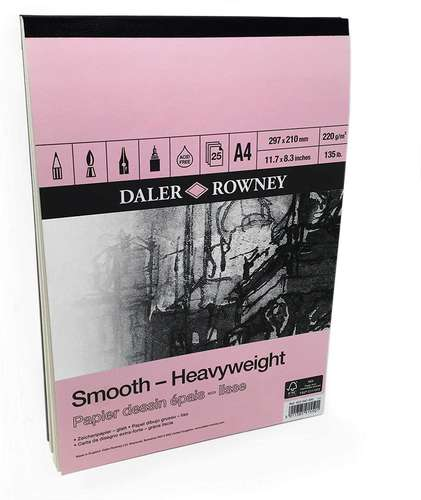 a single pad of Daler Rowney smooth heavyweight paper with a pink cover