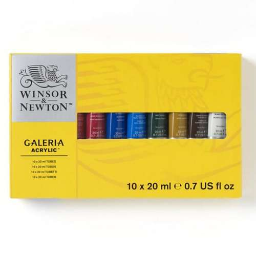 a box of Winsor and Newton Galeria acrylic tubes