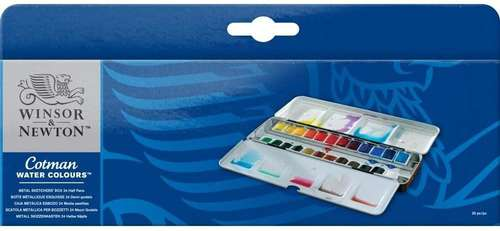 the packaging for Winsor and Newton Cotman Watercolours Sketchers Box with 24 half pans
