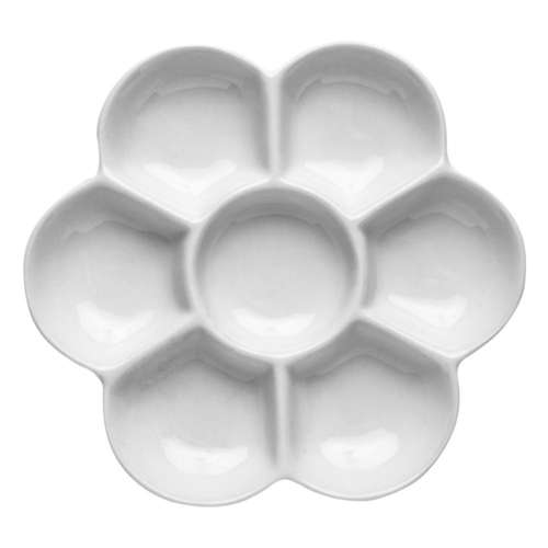 flower shaped white ceramic mixing palette
