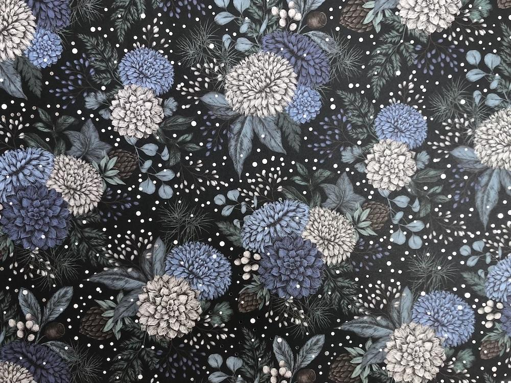 Chrysanthemum paper in blue, black and silver