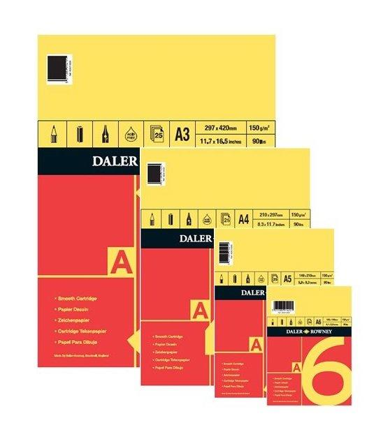 a set of Daler Rowney red and yellow spiral bound cartridge paper pads
