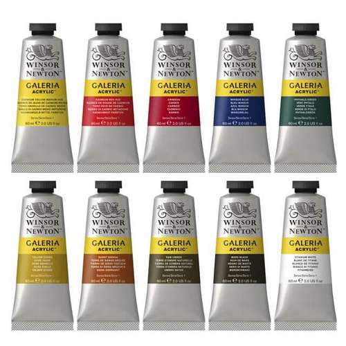 a set of tubes of Winsor and Newton galeria acrylic paints