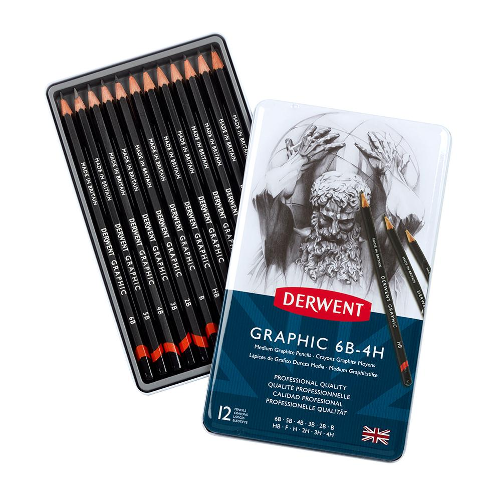 A tin of 12 Derwent graphic designers pencils