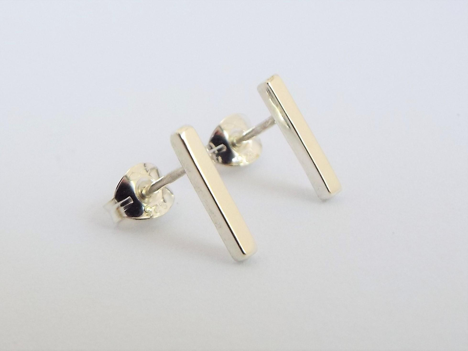 little silver bar earrings