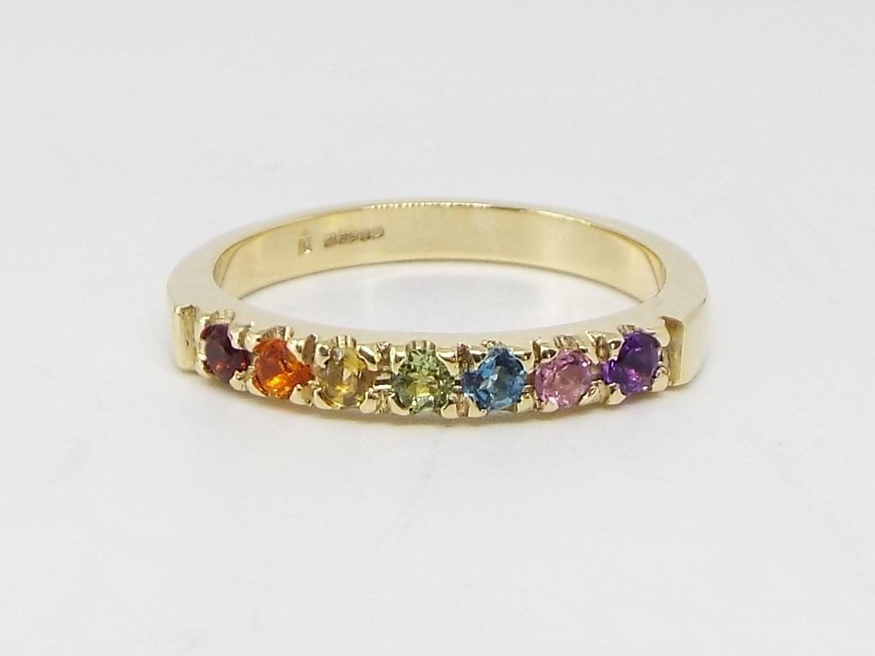 Rainbow gems 9ct Gold ring