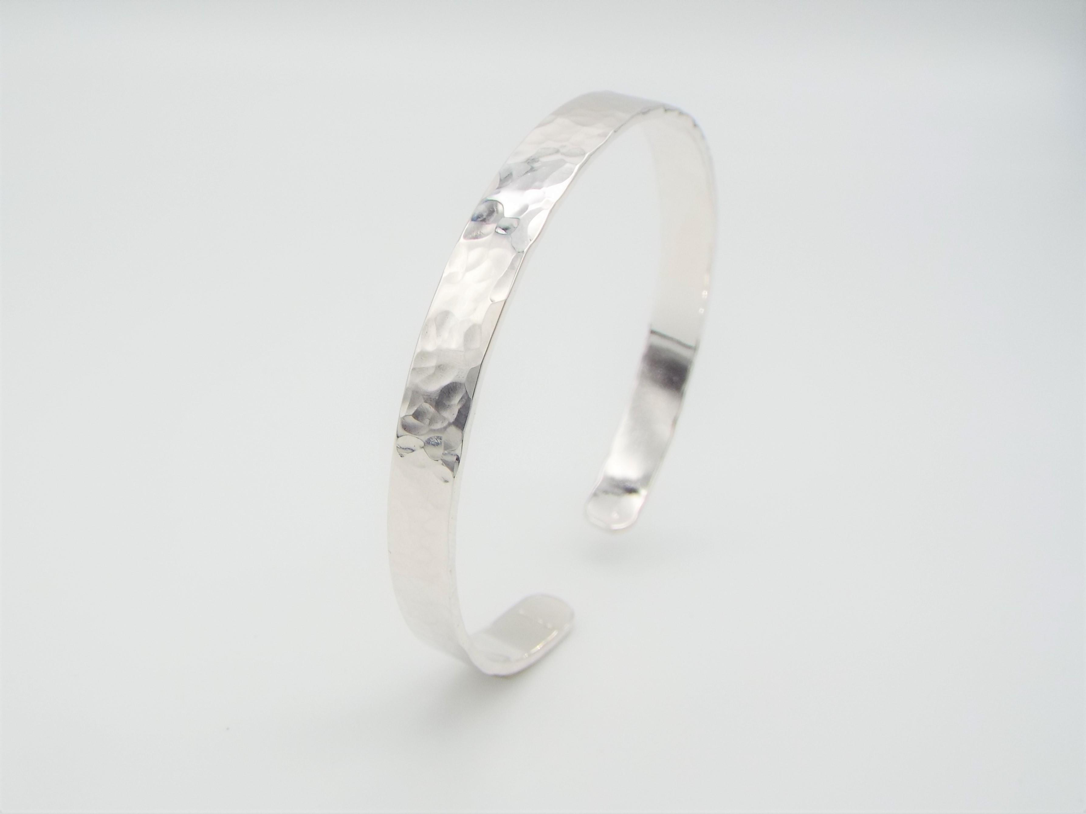 Silver Cuff Bracelet with a hammered and polished finish