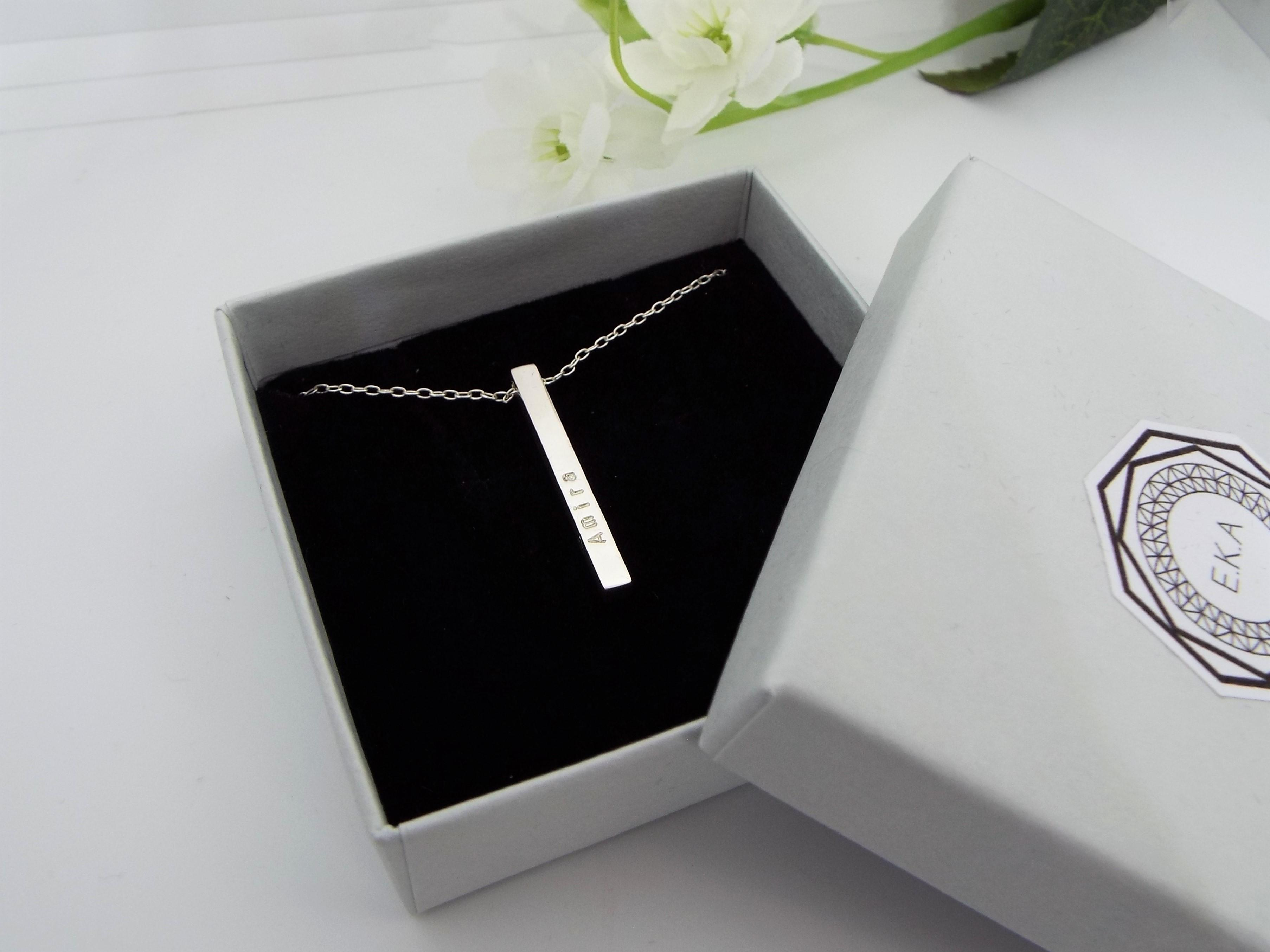Silver Bar pendant  personalised with names and dates