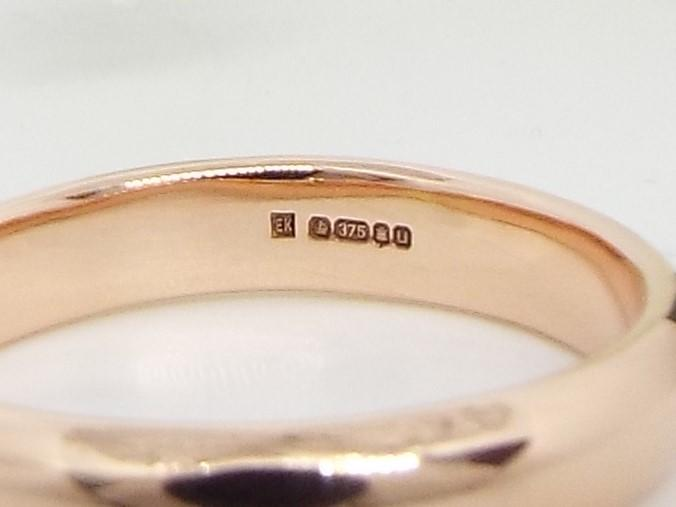 rose gold ring with hallmark
