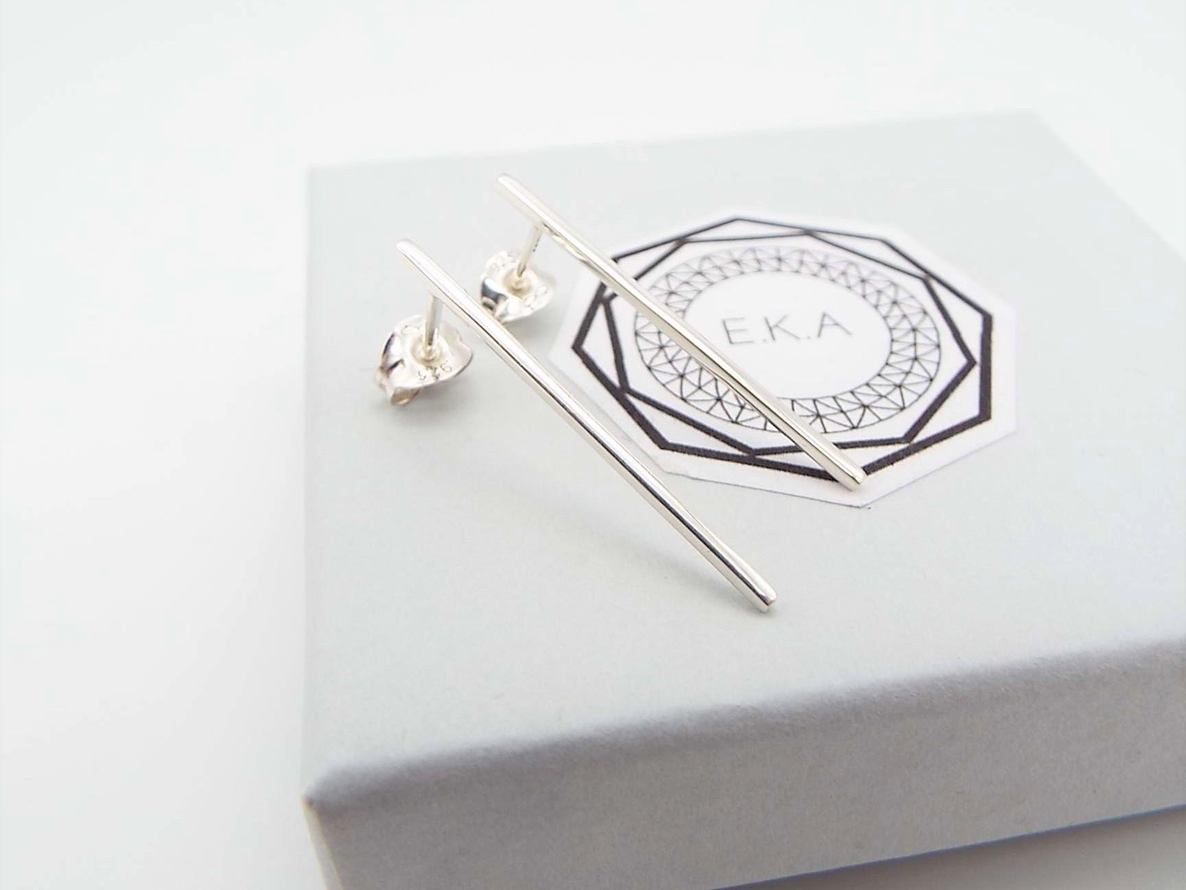 long line silver bar earrings