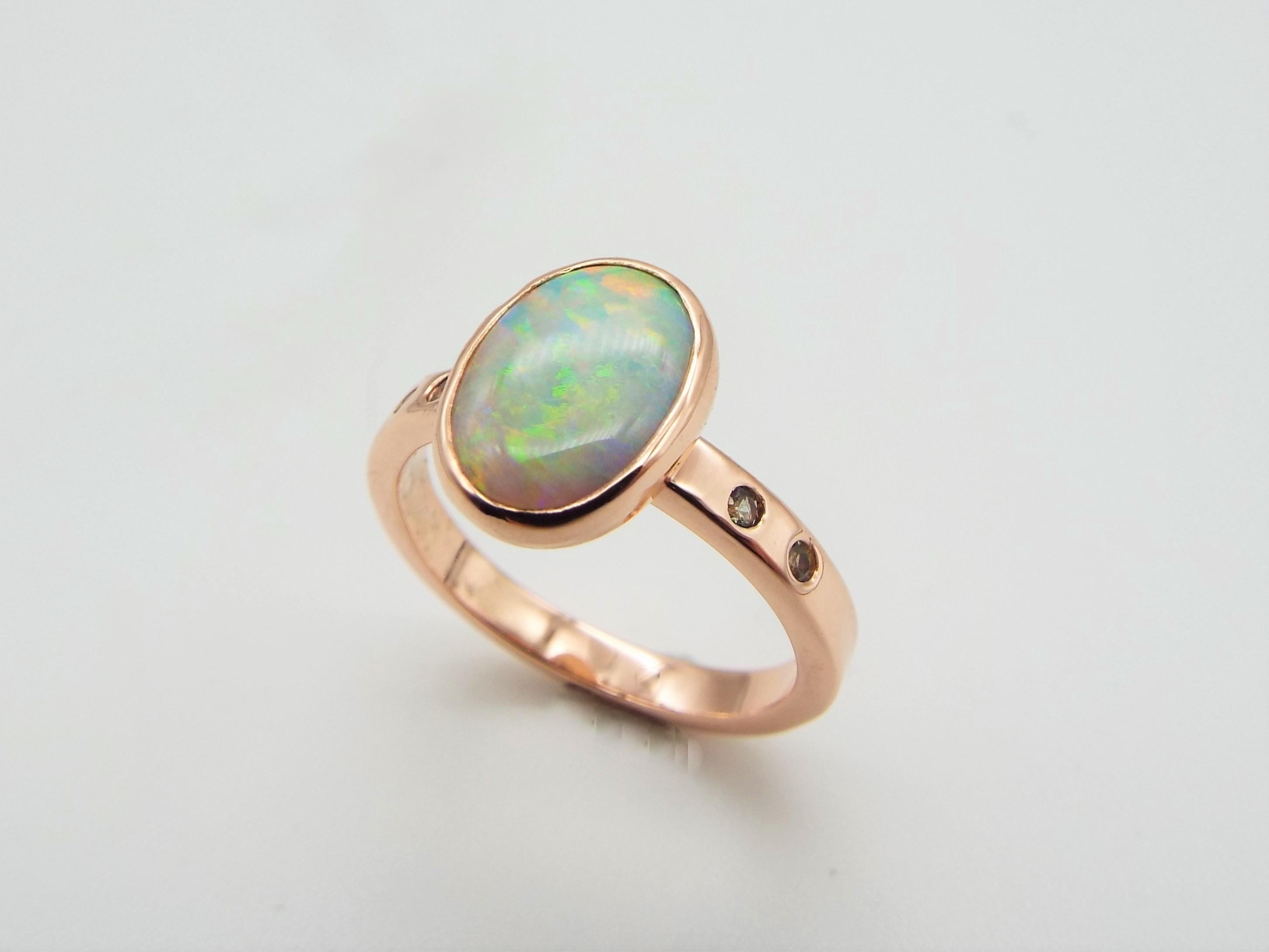 Opal, Green sapphire and Rose gold ring