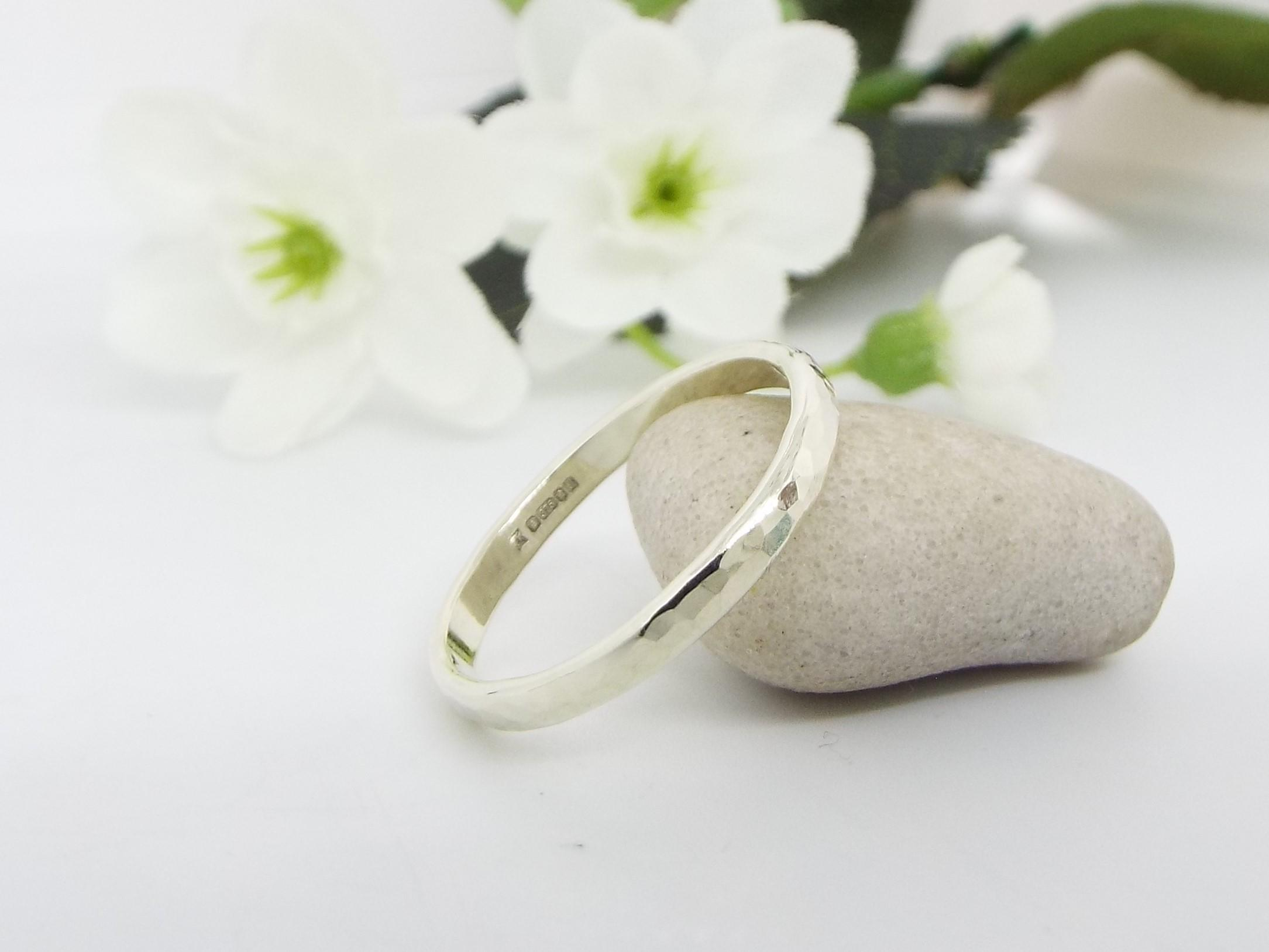 9ct white gold wedding ring with a hammered finish