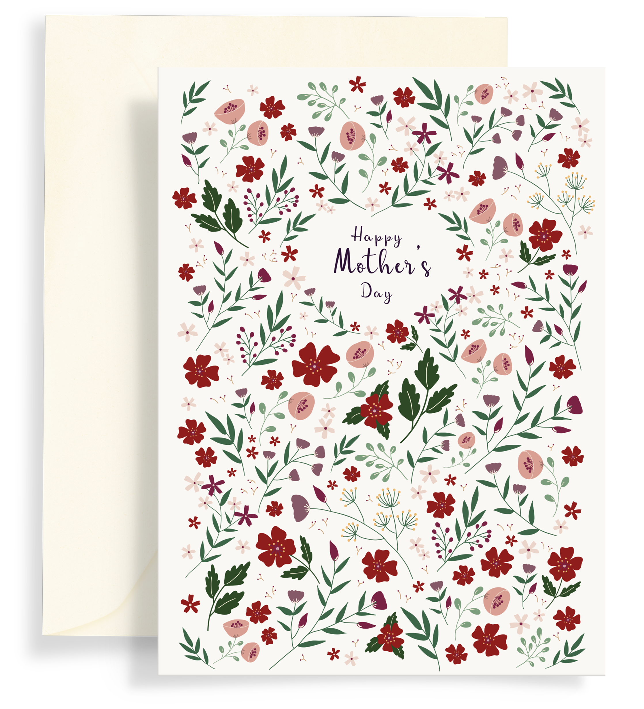 Illustrated greeting card with a beautiful red floral pattern on a white background. Text says 'happy mother's day'