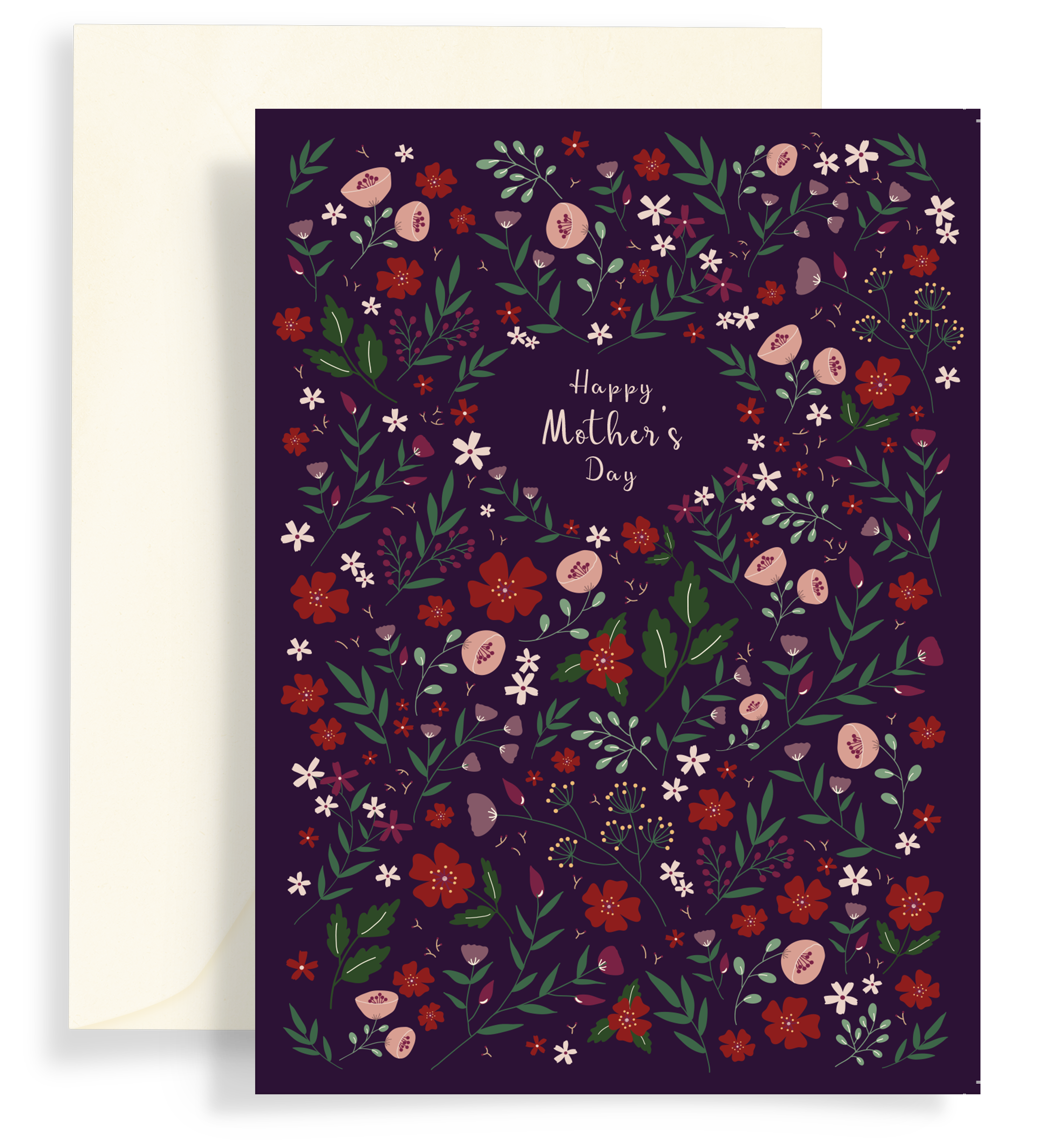 Illustrated greeting card with a beautiful floral pattern on a dark plum background. Text says 'happy mother's day'