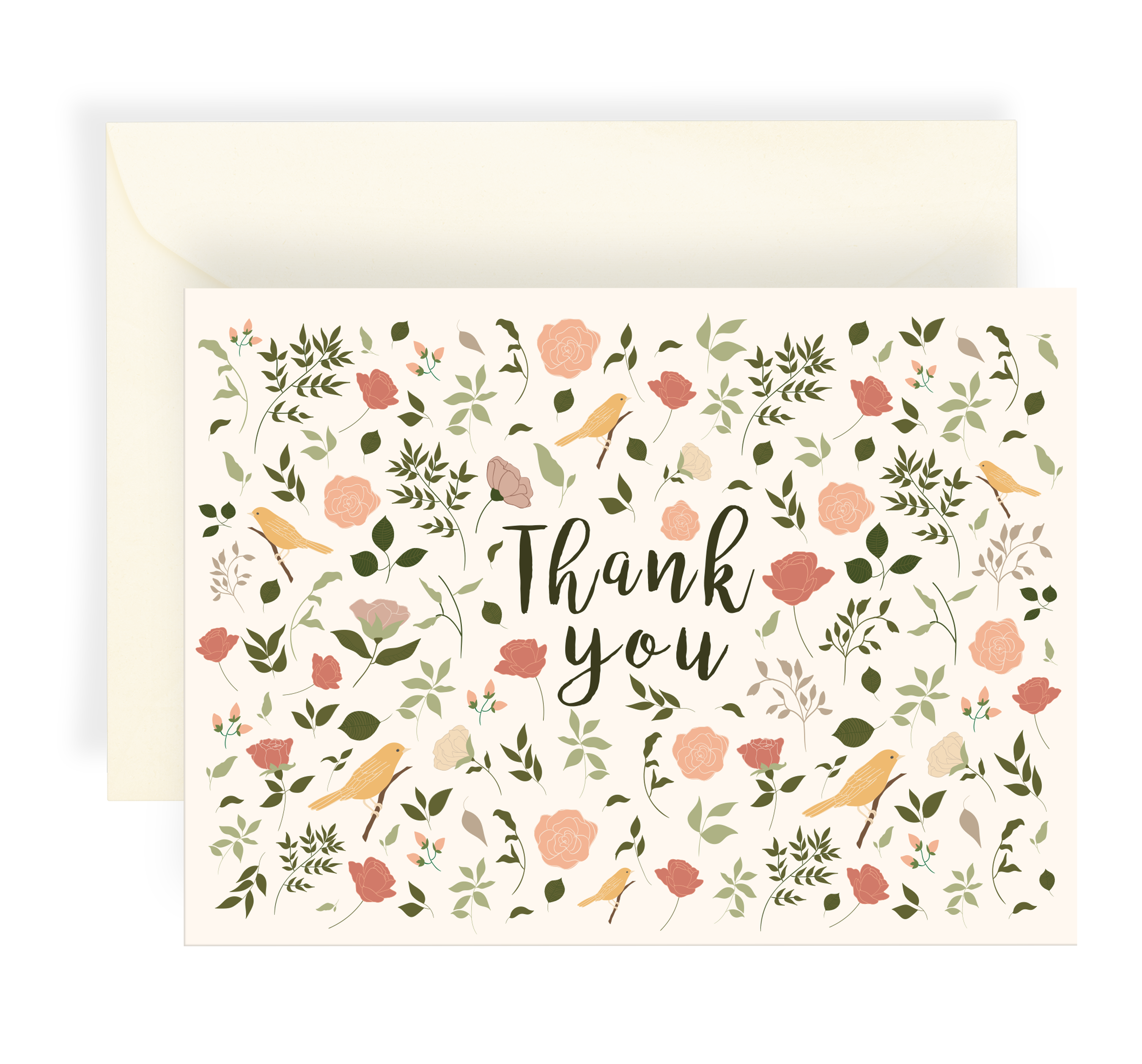 Illustrated greeting card with a beautiful floral pattern and yellow birds on a cream background. Text says 'Thank You'