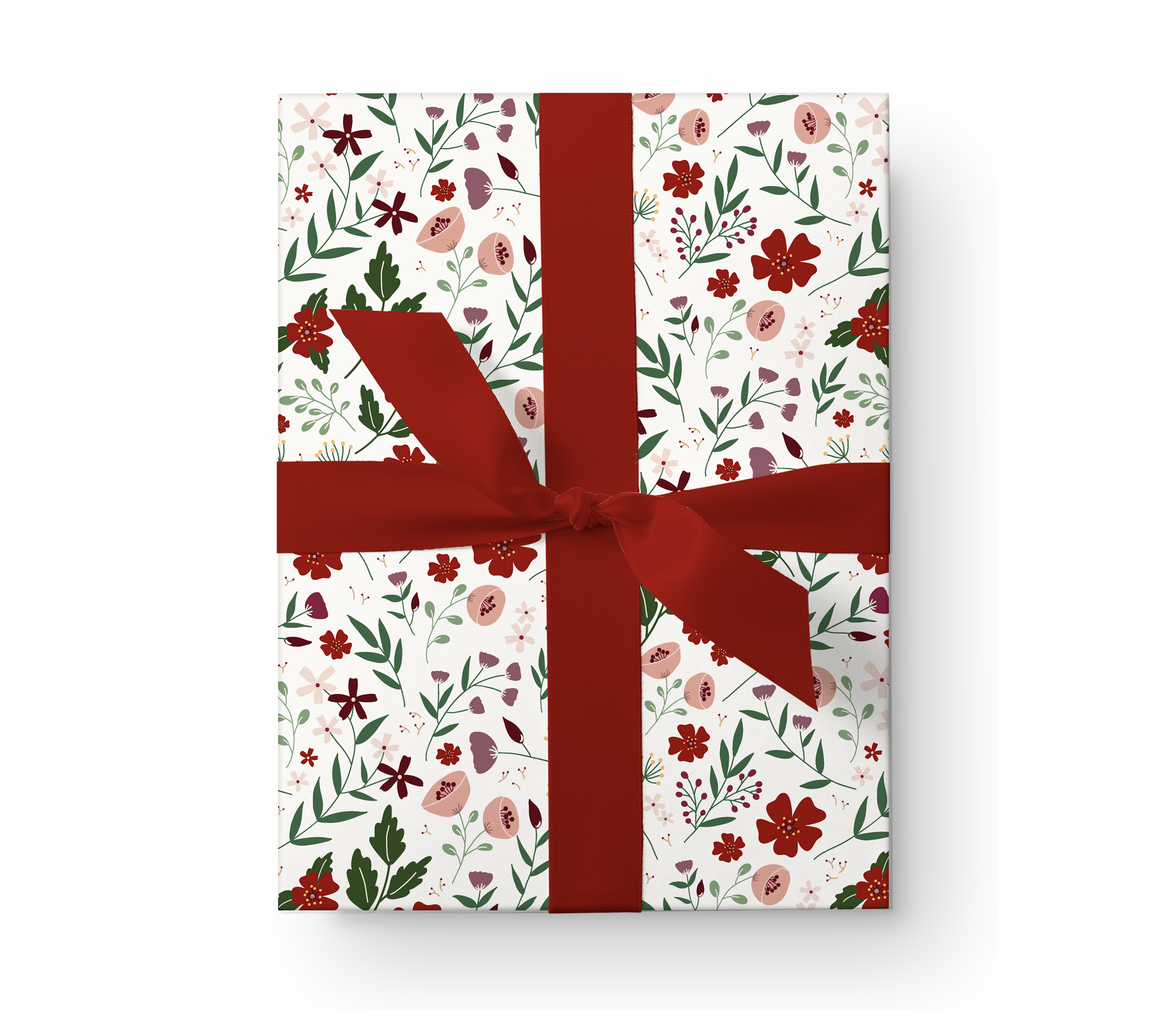 Illustrated wrapping paper gift box with a beautiful red floral pattern on a white background.