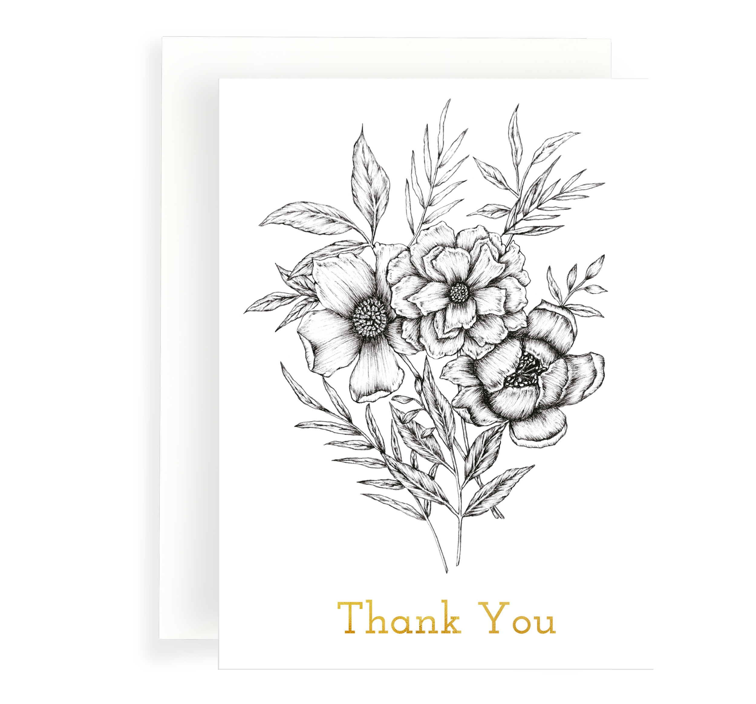 "Beautiful ink illustrated floral bouquet card on a white background. Gold foil text says ""Thank You'"