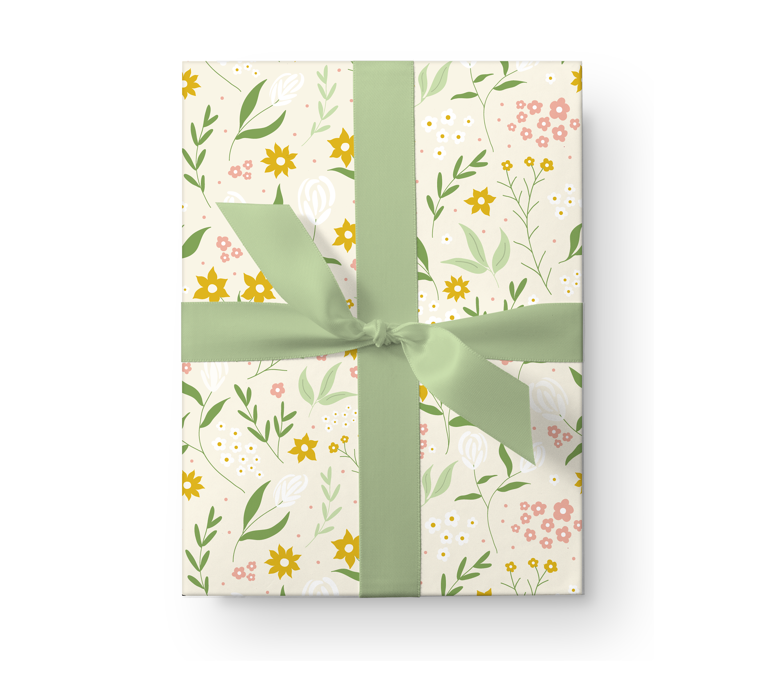 Illustrated wrapping paper gift box with a beautiful floral pattern on a pale green background.