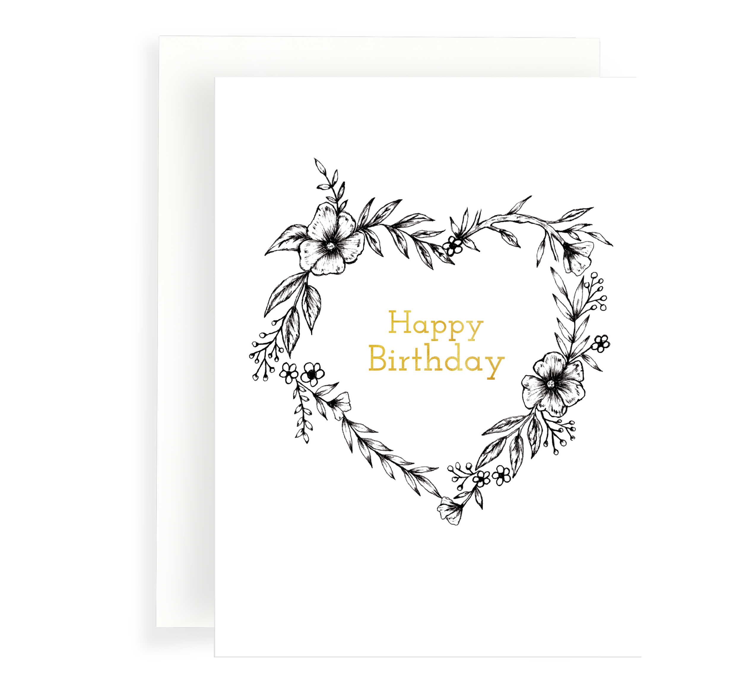Beautiful ink illustrated floral heart wreath on a white background. Gold Foil text says 'Happy Birthday'