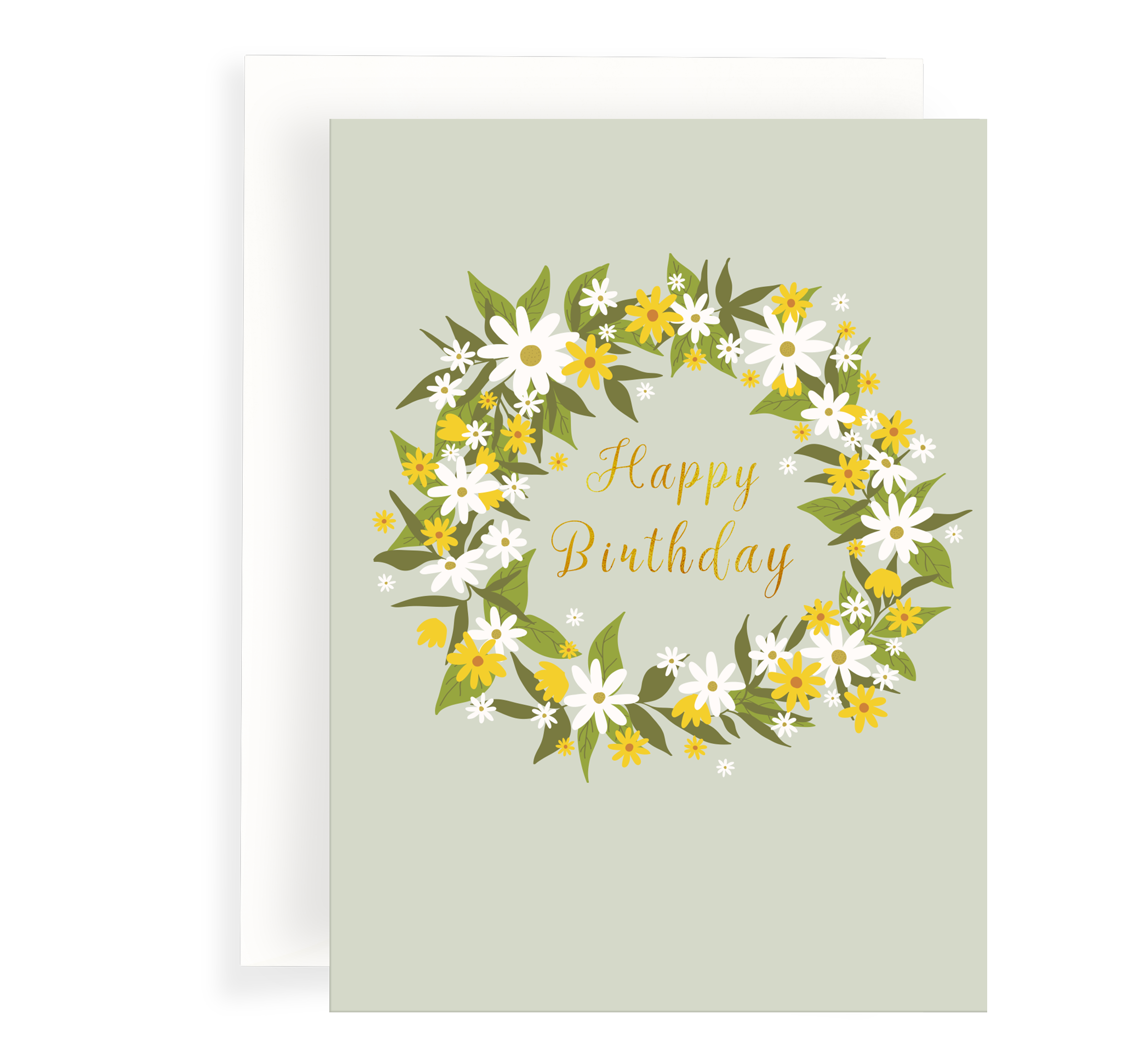 Lovely daisy wreath illustrated card on a pale green background, Gold Foil text says 'Happy Birthday'