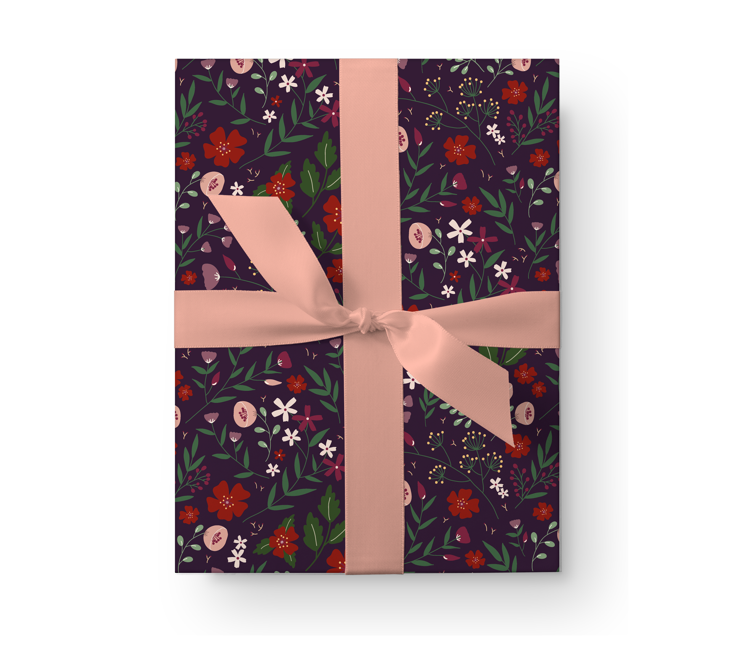 Illustrated wrapping paper gift box with a lovely dark floral pattern on a plum background.