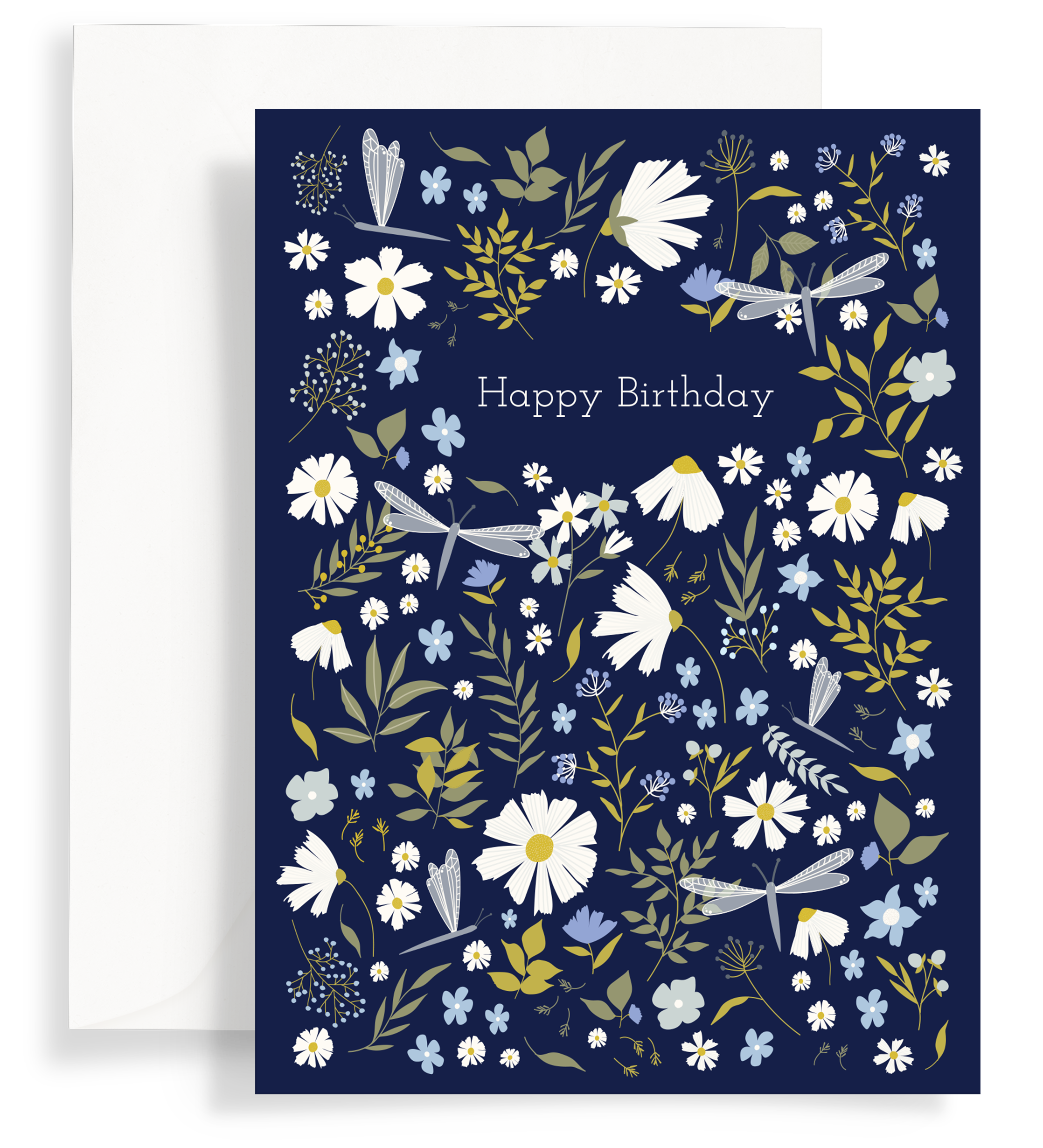 Illustrated greeting card with a beautiful daisies and dragonflies pattern on a dark navy background. Text says 'happy birthday'